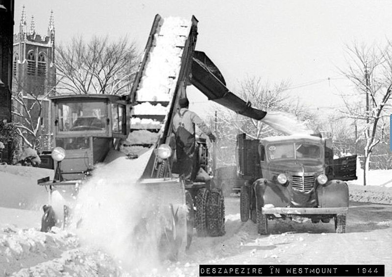 Snow removal in 1944 in Westmount, Quebec,